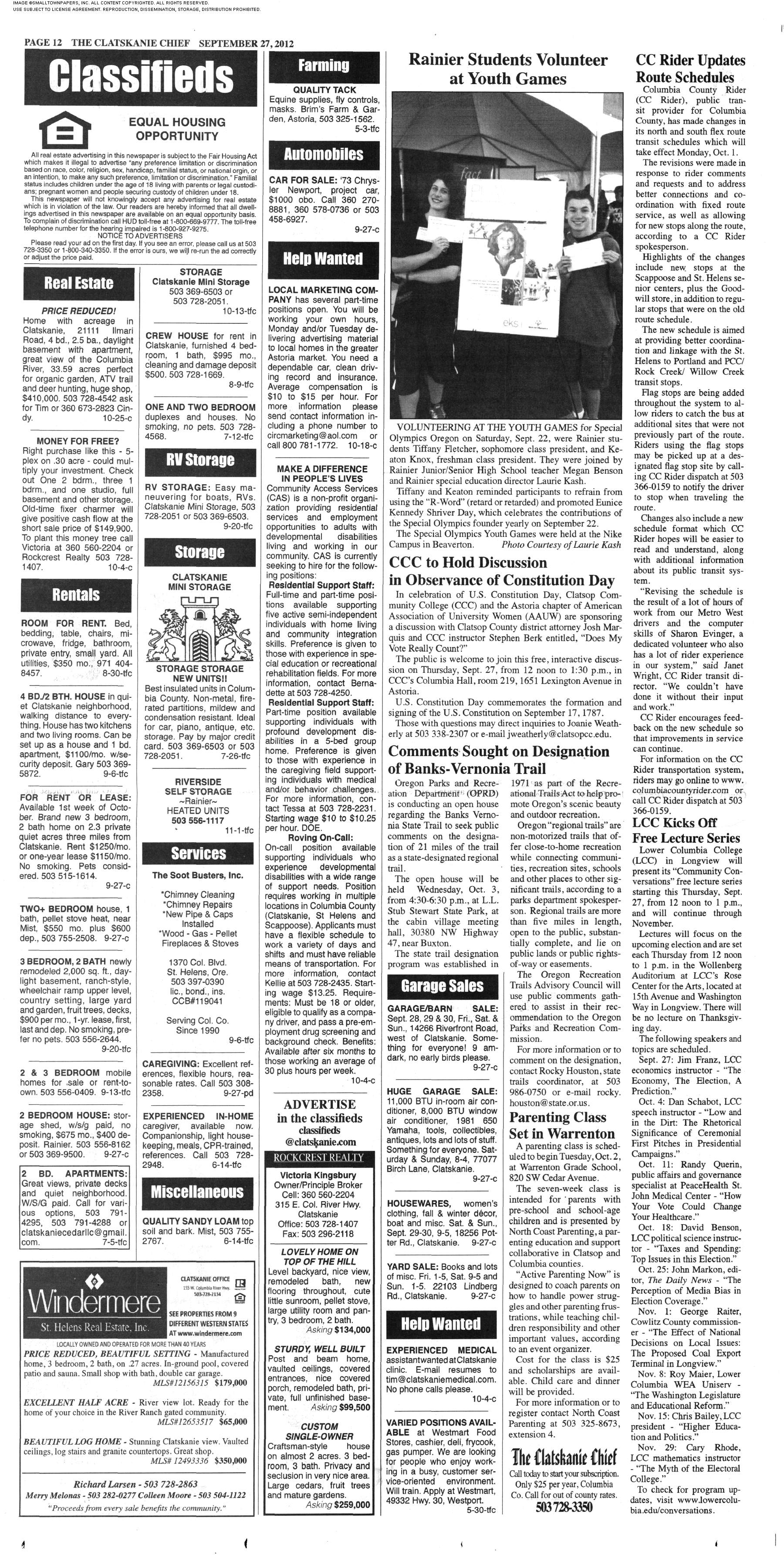 The Clatskanie Chief September 27, 2012: Page 12 on home books, home motor, home cabinets, home audio, home brand, home sound systems, home accessories, home dimensions, home turntables, home dj,